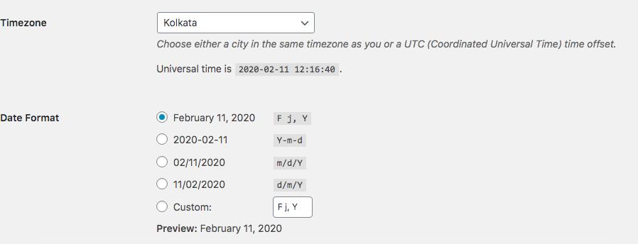 WordPress Timezone Setting