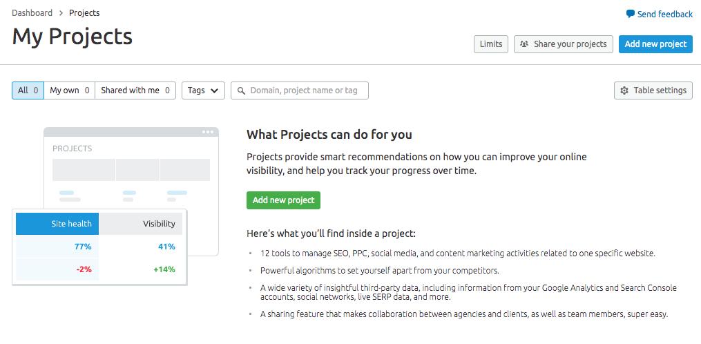 Semrush tutorial add project